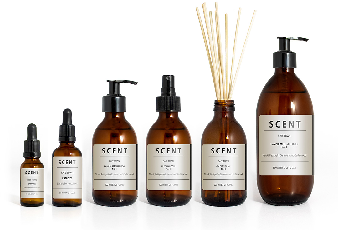 Scent product range bottles
